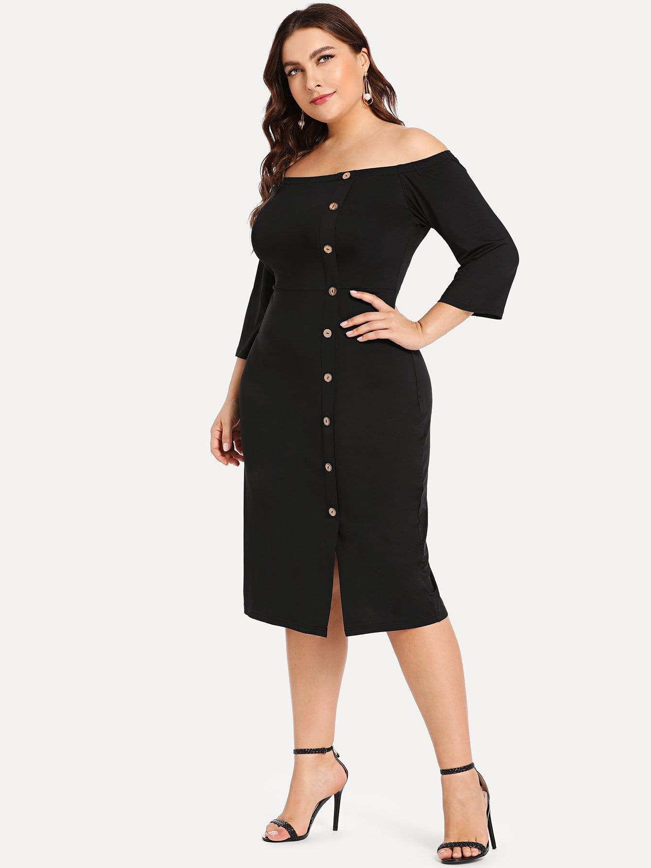 Купить Большое платье с открытыми плечами и украшением пуговицы, Franziska, SheIn