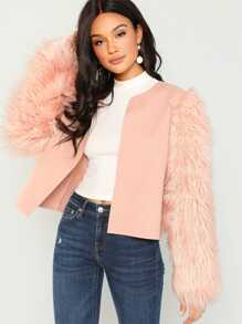 Open Front Faux Fur Sleeve Coat