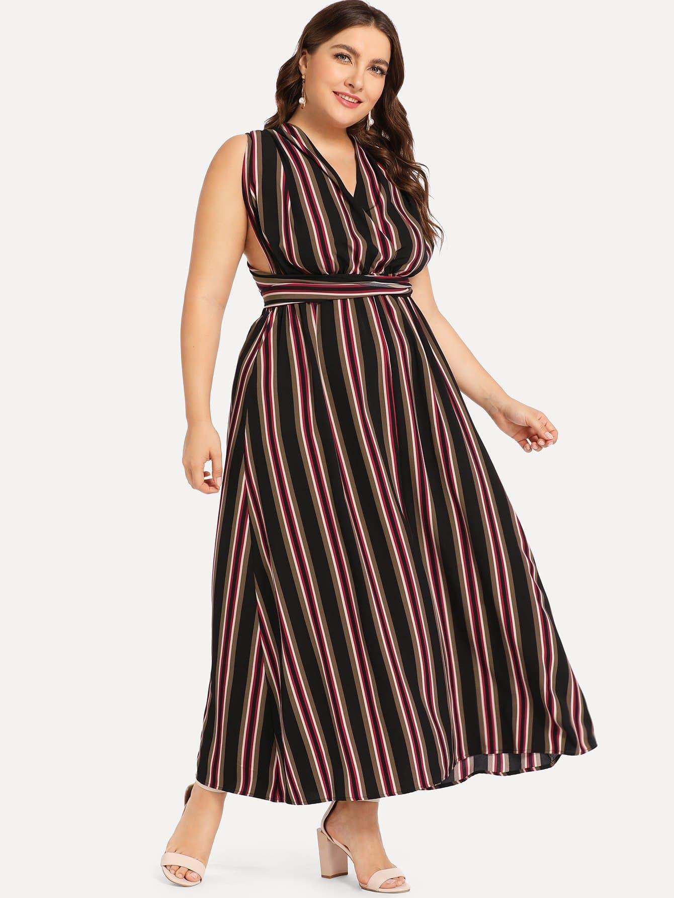 Плюс размеры платье в полоску