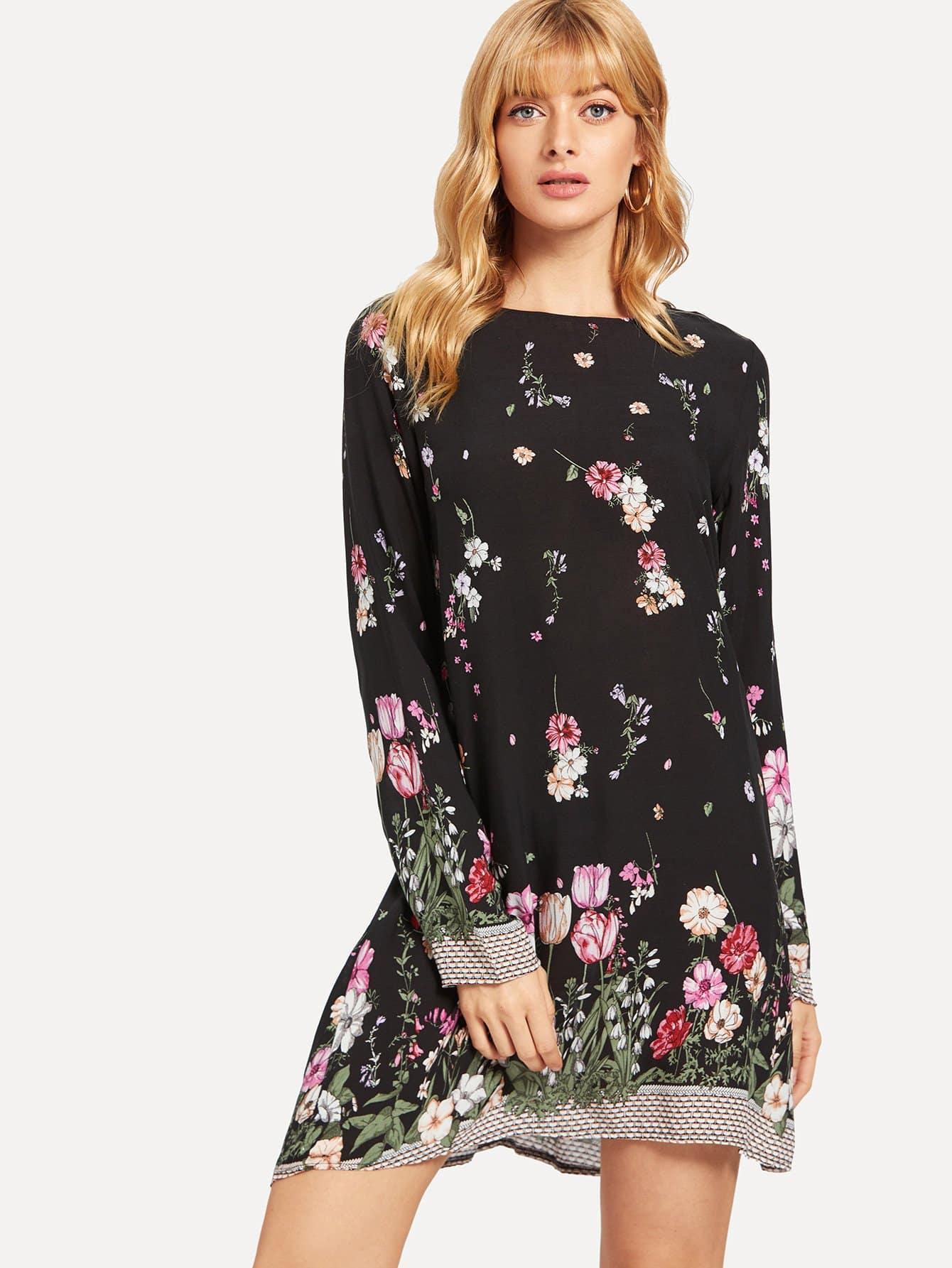 Купить Туника платье с цветочным принтом, Masha, SheIn