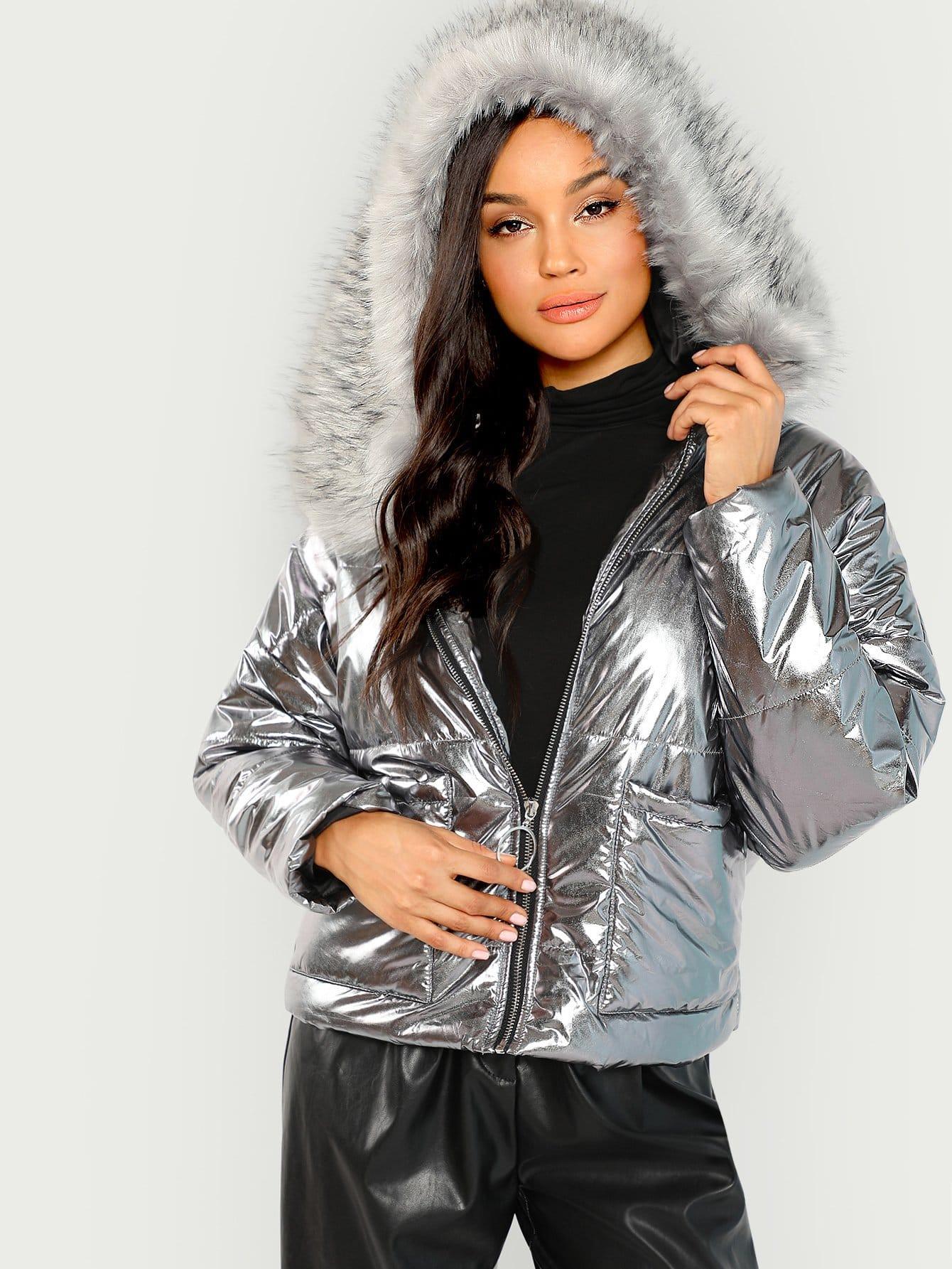 Купить Куртка на молнии с карманом, Juliette, SheIn