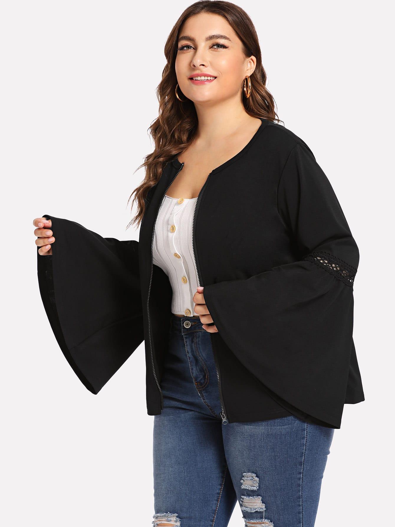 Купить Большое пальто с кружевами и рукав с розеткой, Franziska, SheIn