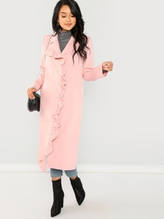 Frill Trim Button Up Coat