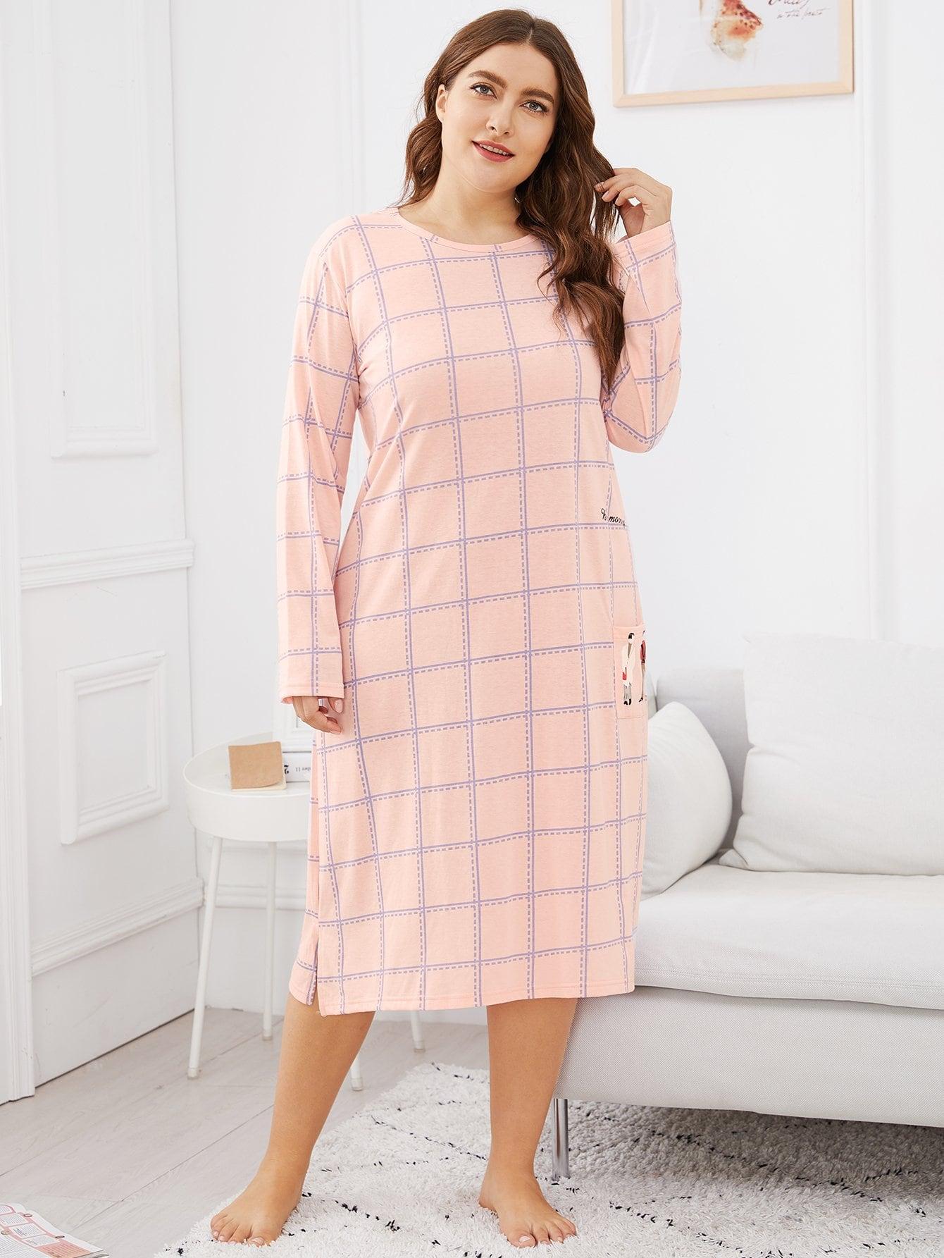 Купить Большая ночная сорочка в клетку с принтос фигуры, Franziska, SheIn