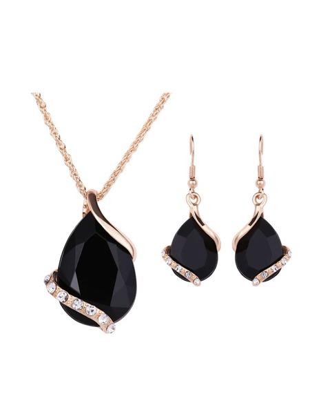 Waterdrop Gemstone Pendant Necklace & Earrings