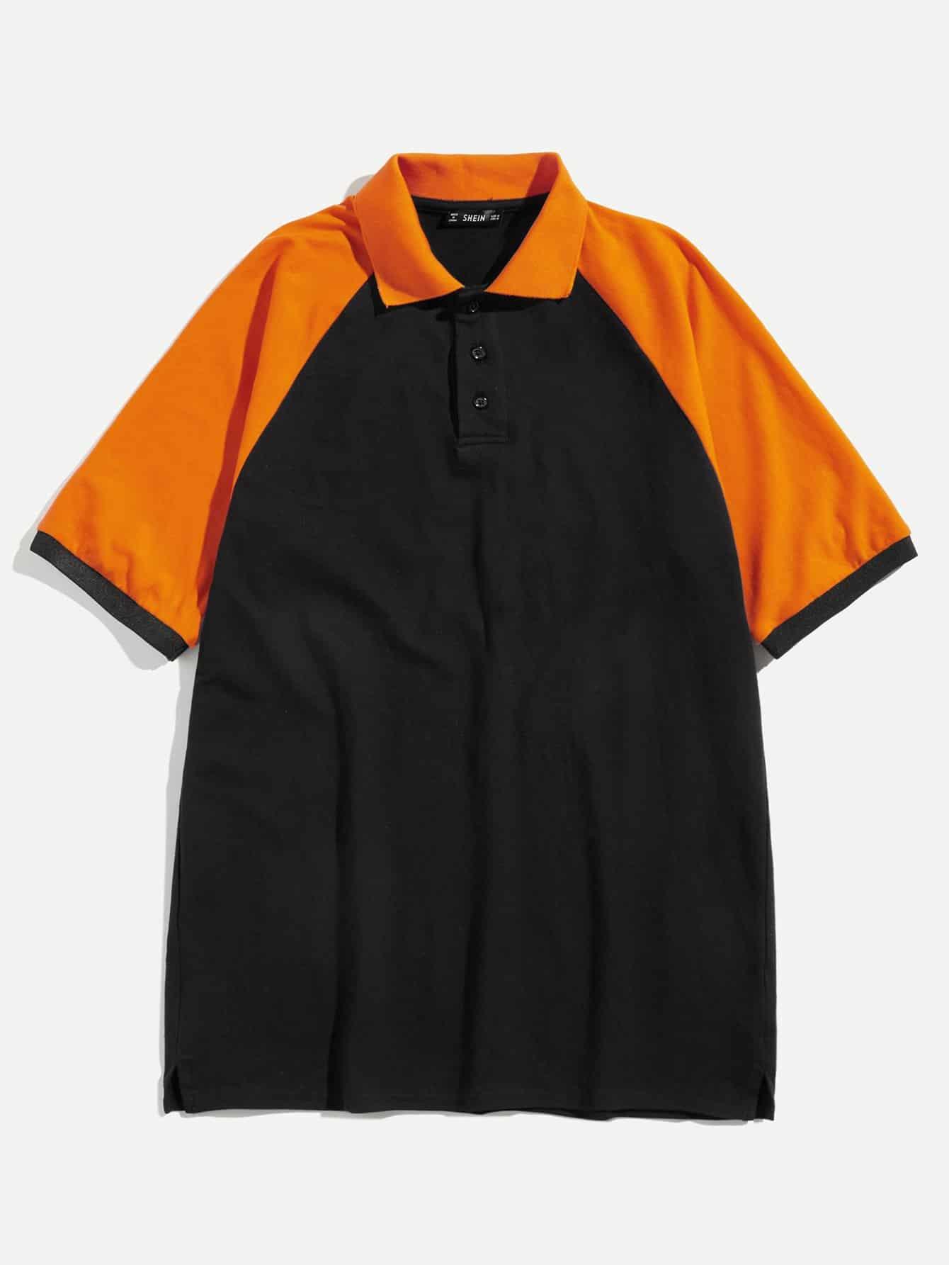 Купить Для мужчин контрастная поло рубашка с рукавом-регланом, null, SheIn