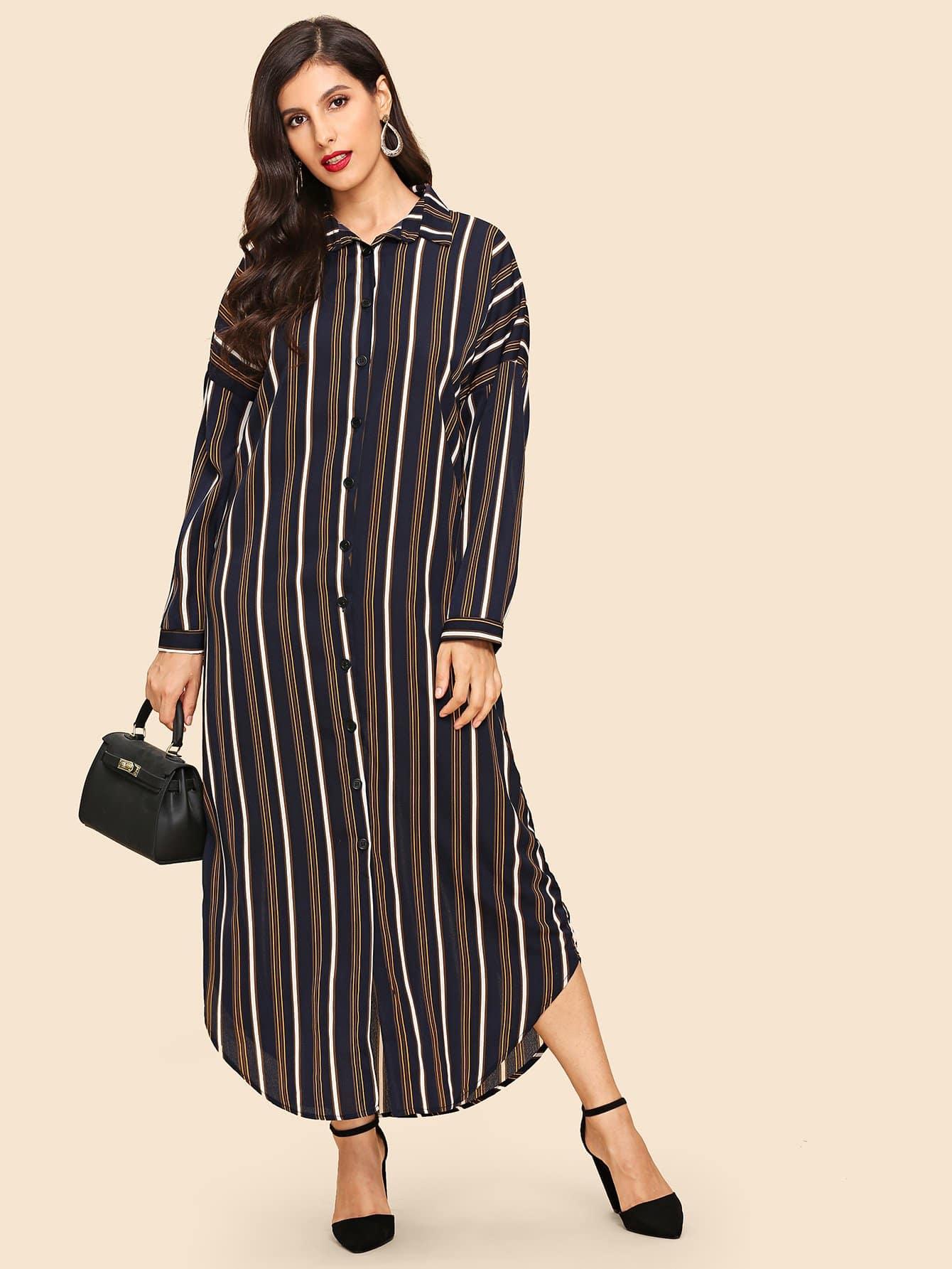 Купить Полосатое однобортное платье с заниженной линией плеч, Jeane, SheIn