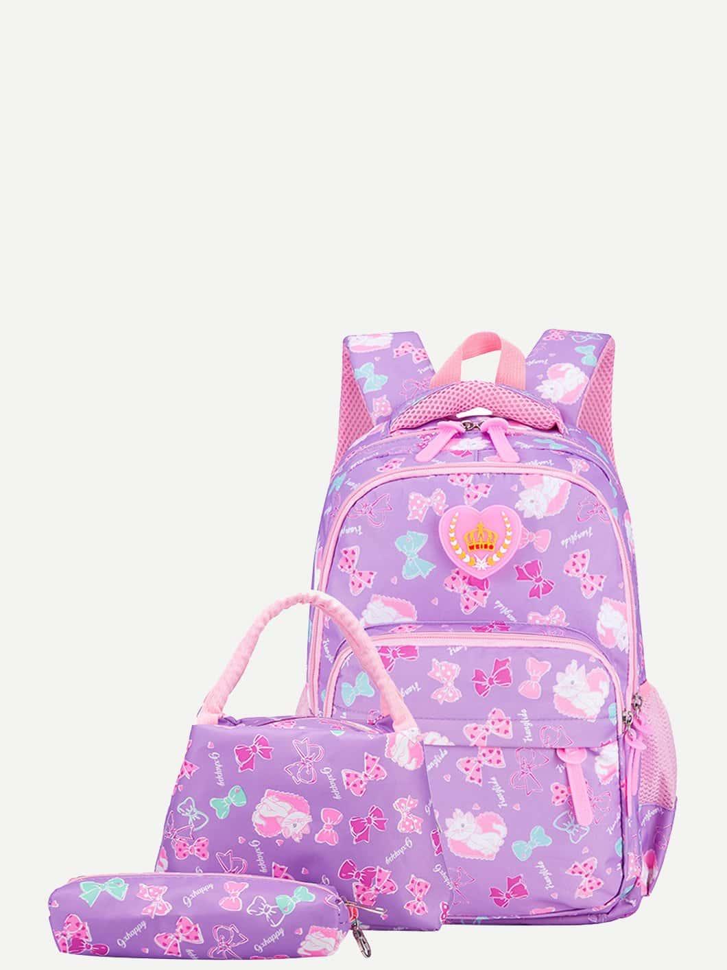 Купить Рюкзак с принтом бабочки и пенал для карандашей 3 шт для детей, null, SheIn
