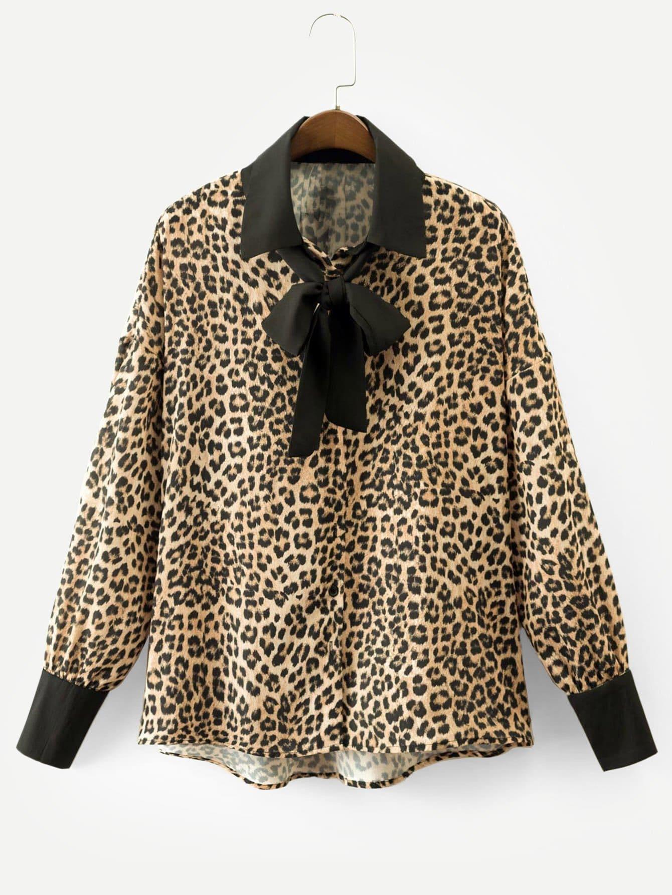 Купить Леопардовая футболка с заниженной линией плеч и контрастными оторочками, null, SheIn