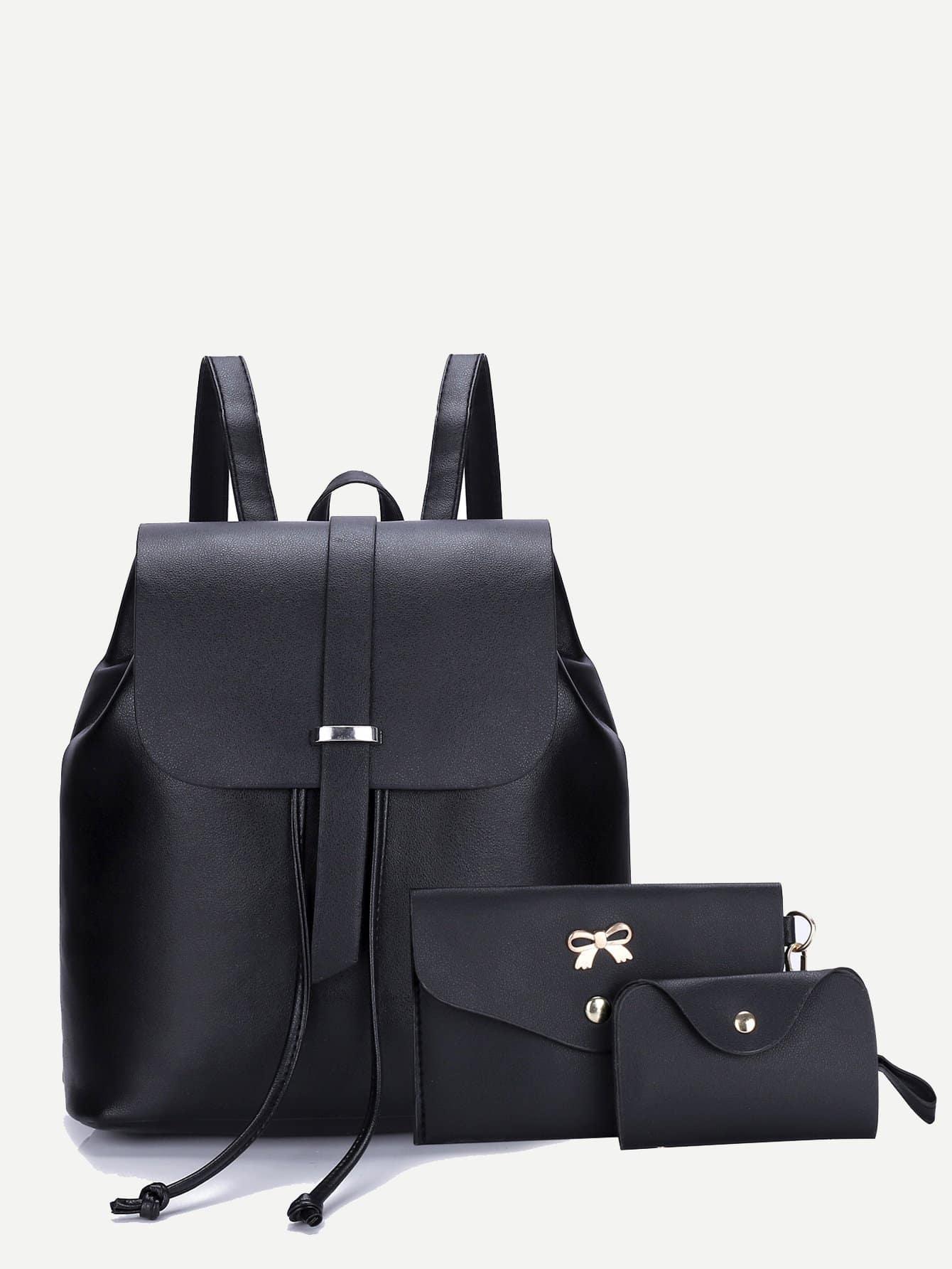 Купить Кожаный рюкзак с крышей и кошелёк 3 шт, null, SheIn