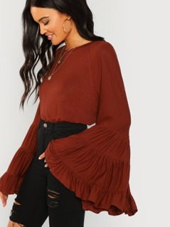 Tiered Bell Sleeve Solid Blouse