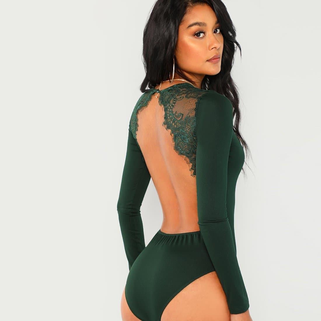 Groen Sexy Vlak Bodysuits Contract kant