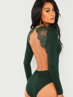 Lace Contrast Backless Skinny Bodysuit