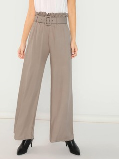 Paper Bag Belted Waist Straight Leg Relaxed Pants