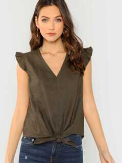 V-Neck Tie Front Tank With Ruffle Cap Sleeves