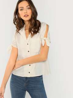 V-Neck Button Front Shirt With Tie Short Sleeves