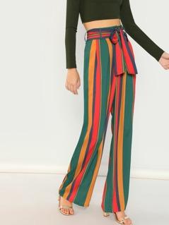 Striped Waist Tie Wide Leg Palazzo Pants