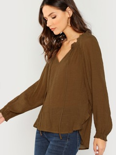 V-Neck Long Sleeve Peasant Blouse