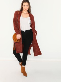 Open Front Chunky Knit Cardigan With Pockets