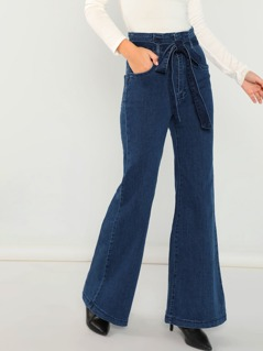 High Waisted Flared Jeans With Belt