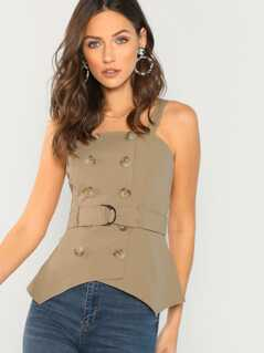 Double Breasted Button Front Asymmetric Hem Tank