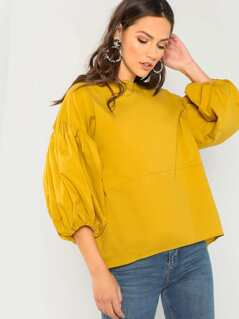 Boat Neck Puff Bishop Sleeve Blouse