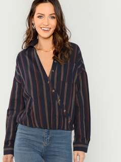 Striped V-Neck Button Front Long Sleeve Shirt