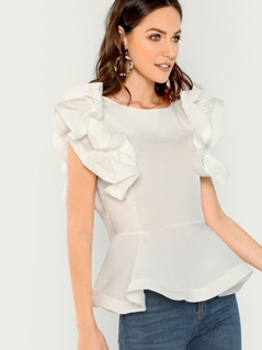 Ruffle Sleeves Waist Peplum Blouse