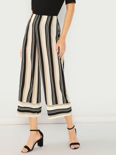 Striped Cropped Wide Leg Lounge Palazzo Pants