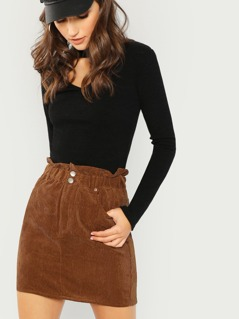 Ruffle Elastic Waist Corduroy A-Line Mini Skirt