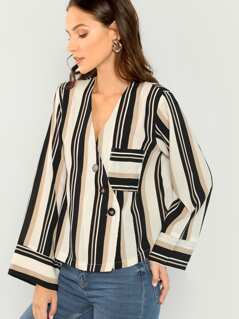 Button Front Closure V-Neck Striped Blouse