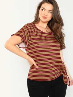 Striped Side Tie Round Neck Rib Knit Tee