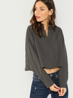 Cropped Long Sleeve V-Neck Shirt