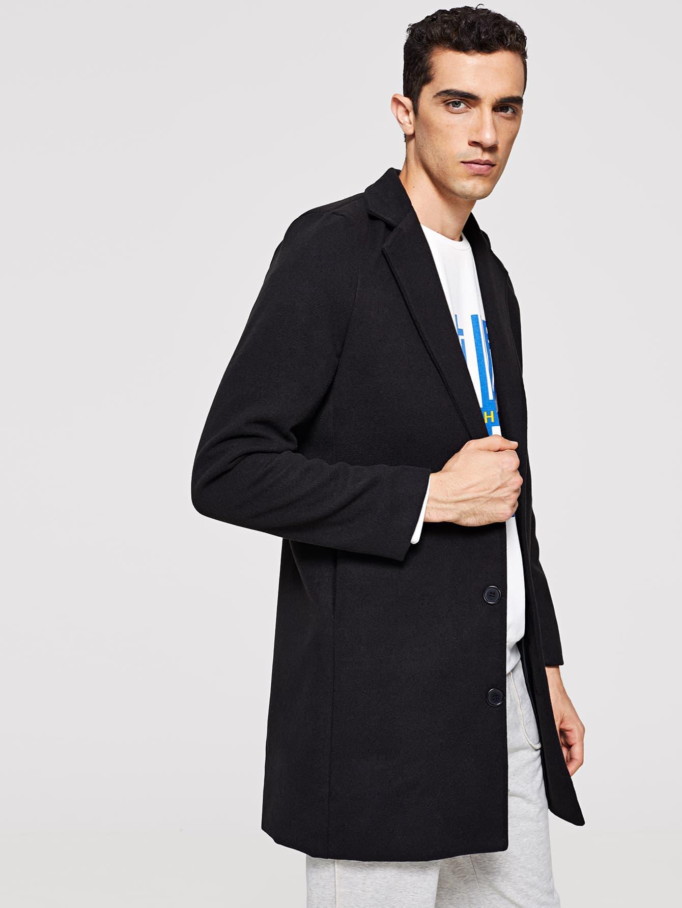 Купить Мужское простое однобортное пальто из твида, Lucas, SheIn