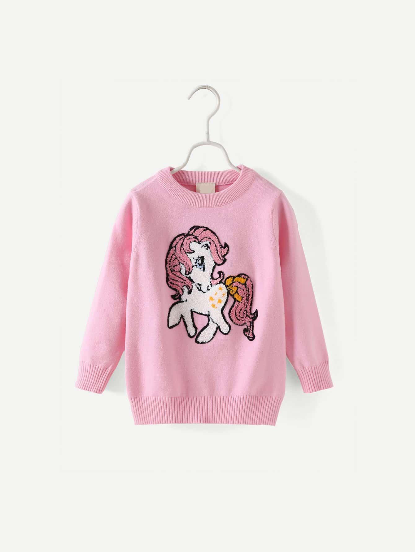 Купить Для маленьких девочек свитер с принтом мультфильма, null, SheIn