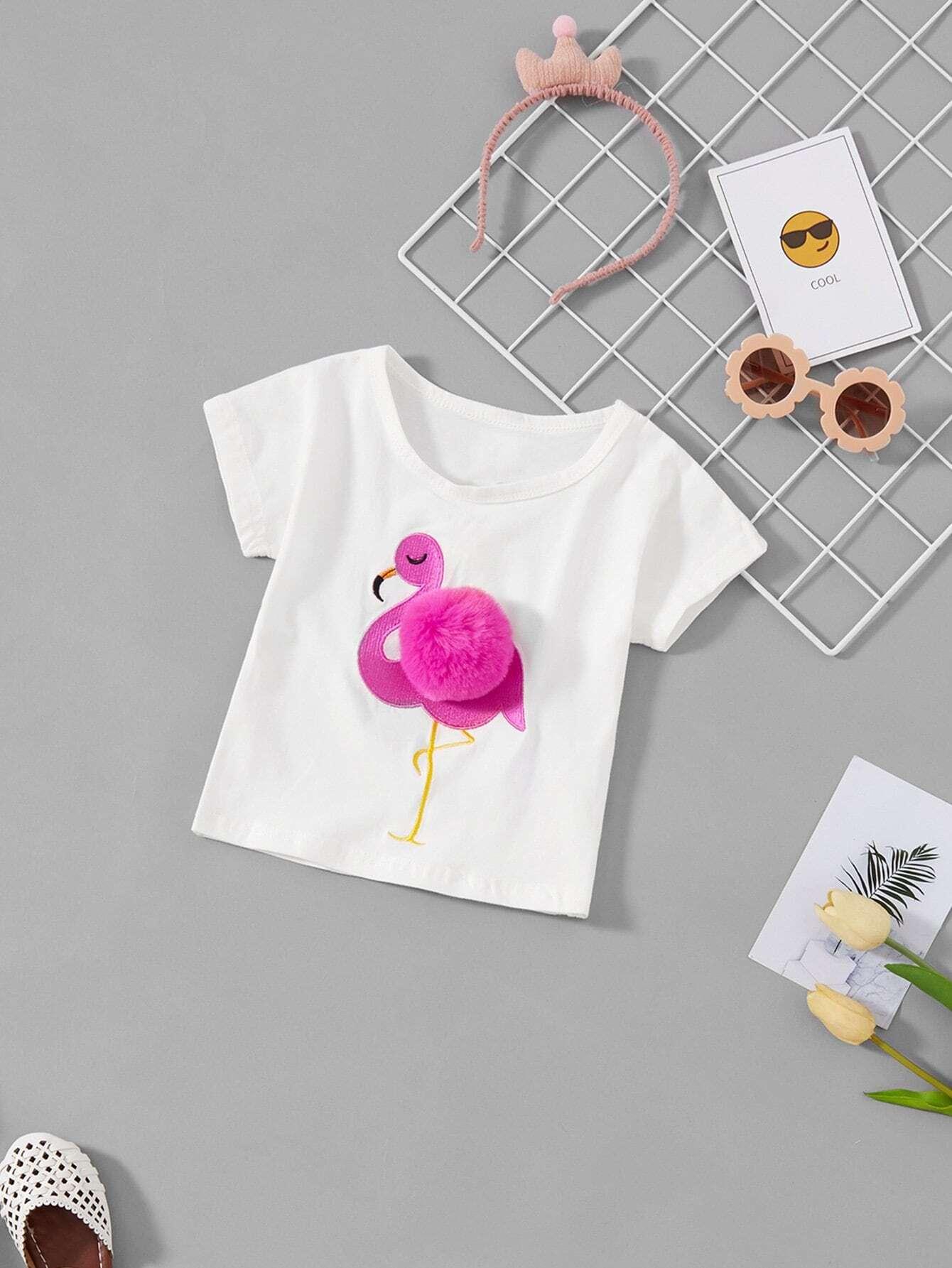 Купить Pom Pom Футболка с рисунками фламинго для девочки, null, SheIn