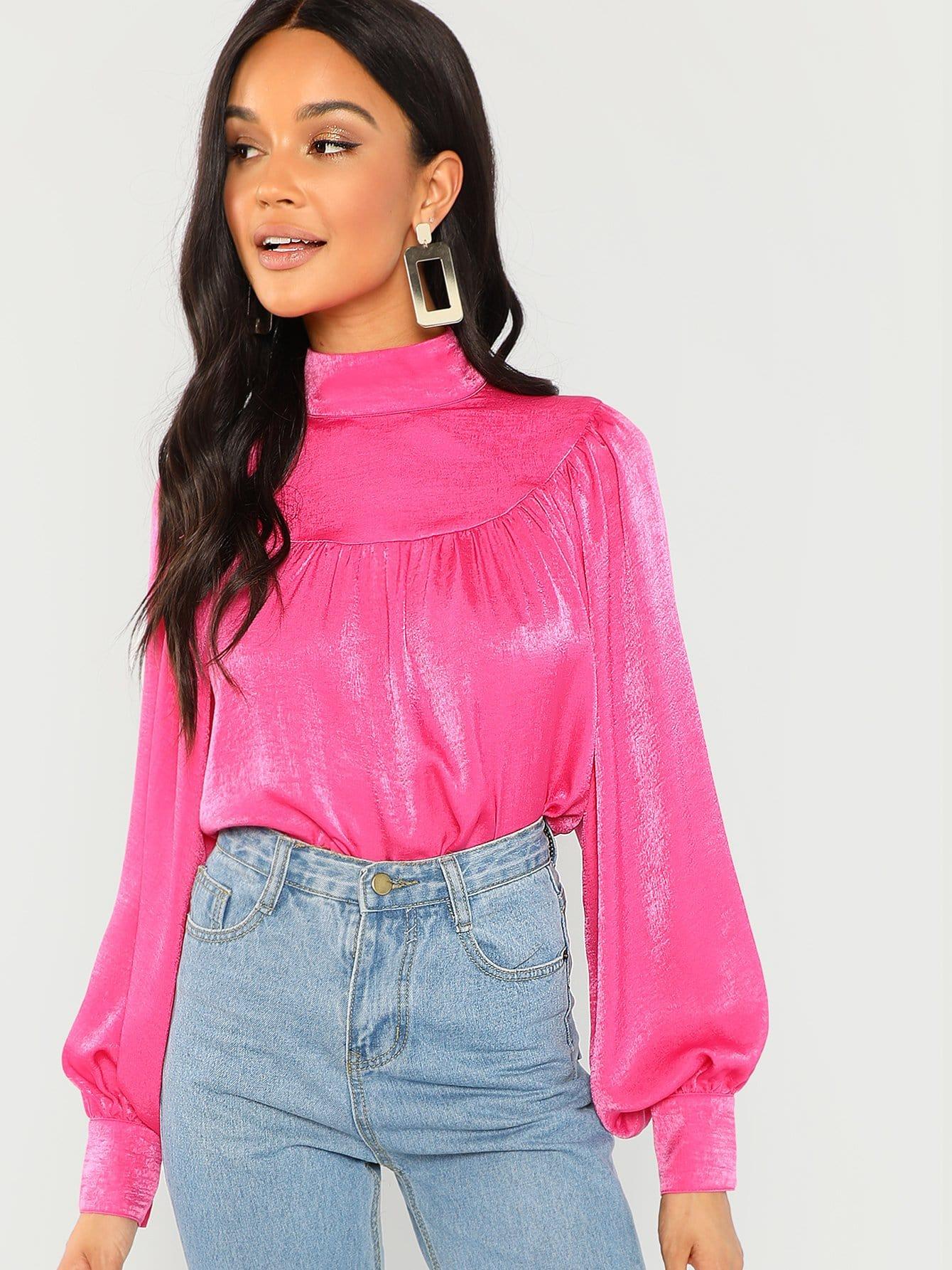 Купить Одноцветная блузка с ложным воротником, Juliette, SheIn