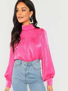 Neon Pink High Neck Bishop Sleeve Satin Top