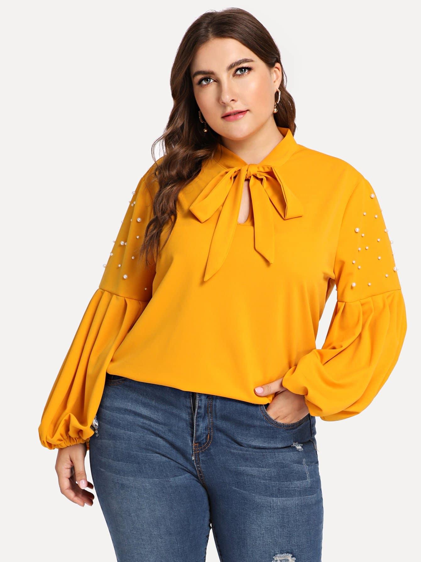 Купить Большая блуза с украшением искусственных жемчугов и с рукавами, присборенный у манжета, Franziska, SheIn