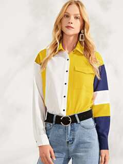 Button Up Color Block Pocket Front Top