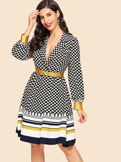 Geometry Print Notched Dress