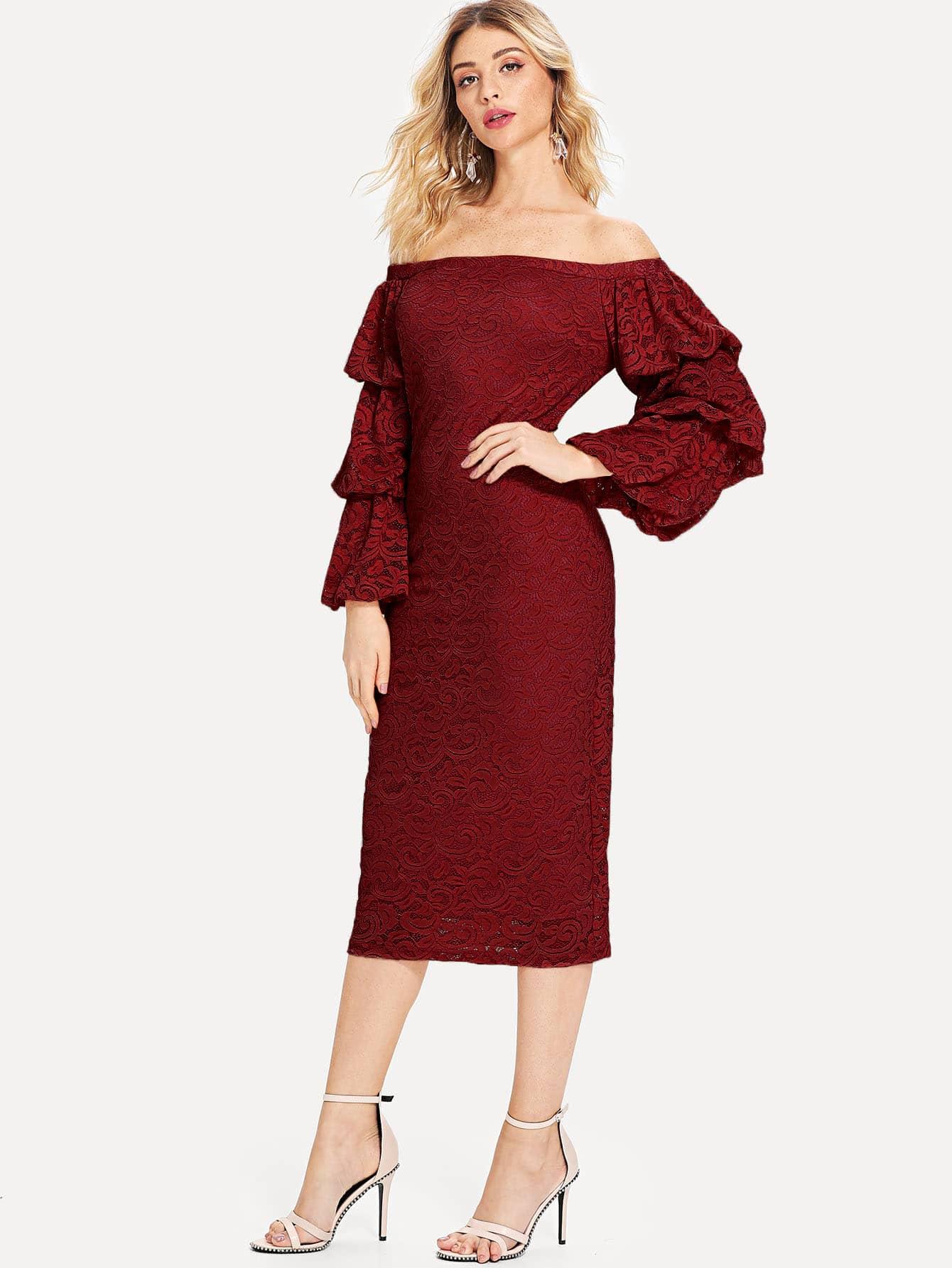 Купить Кружевное платье с открытыми плечами и накрахмаленными рукавами, Nathane, SheIn