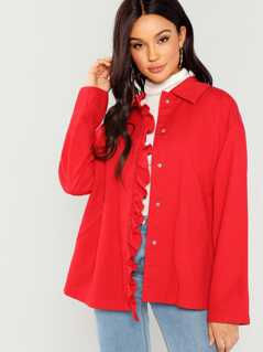 Pocket Patched Front Frill Jacket