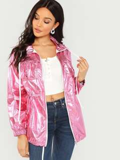 Drawstring Waist Metallic Jacket