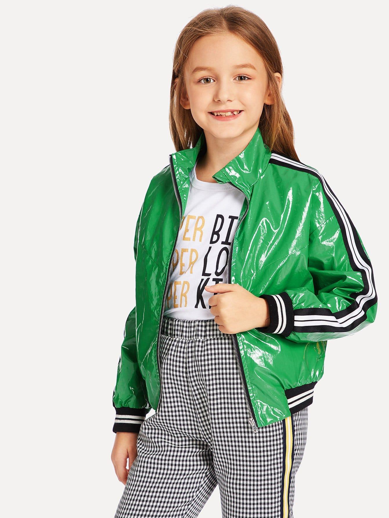 Купить Полосатая ветровка с застёжкой молния и карманами для девочки, Sashab, SheIn