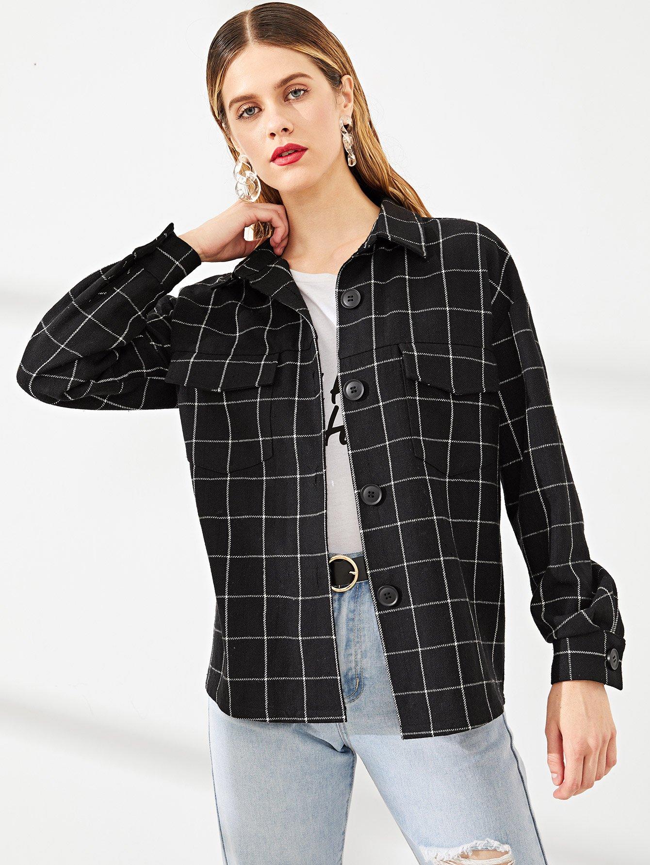 Купить Пальто на пуговицах с длинным рукавом, Victoriab, SheIn