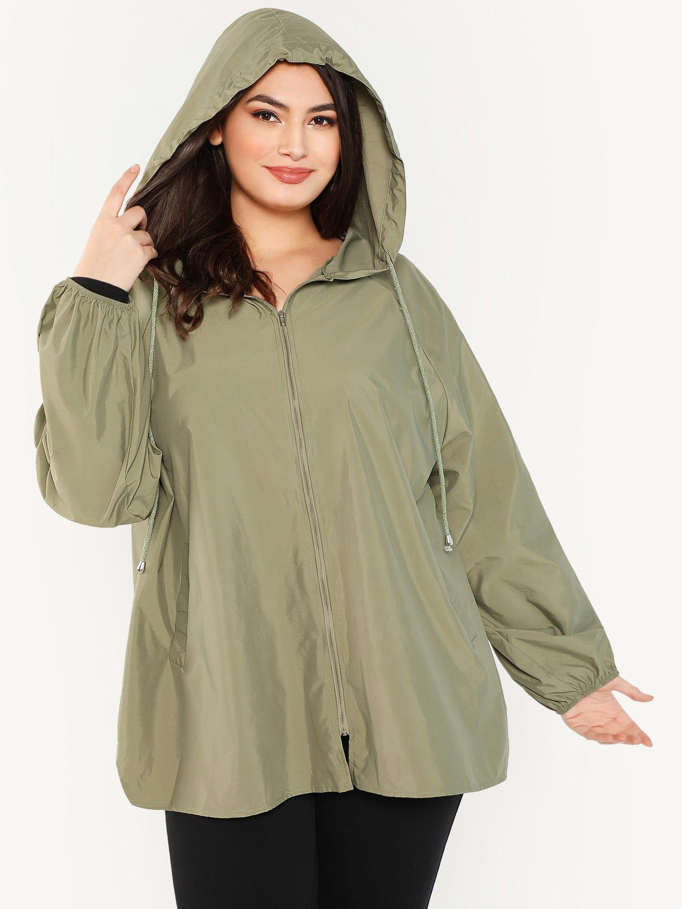 Купить Плюс размеры куртка с капюшоном с рукавом-регланом, Elisa Krug, SheIn