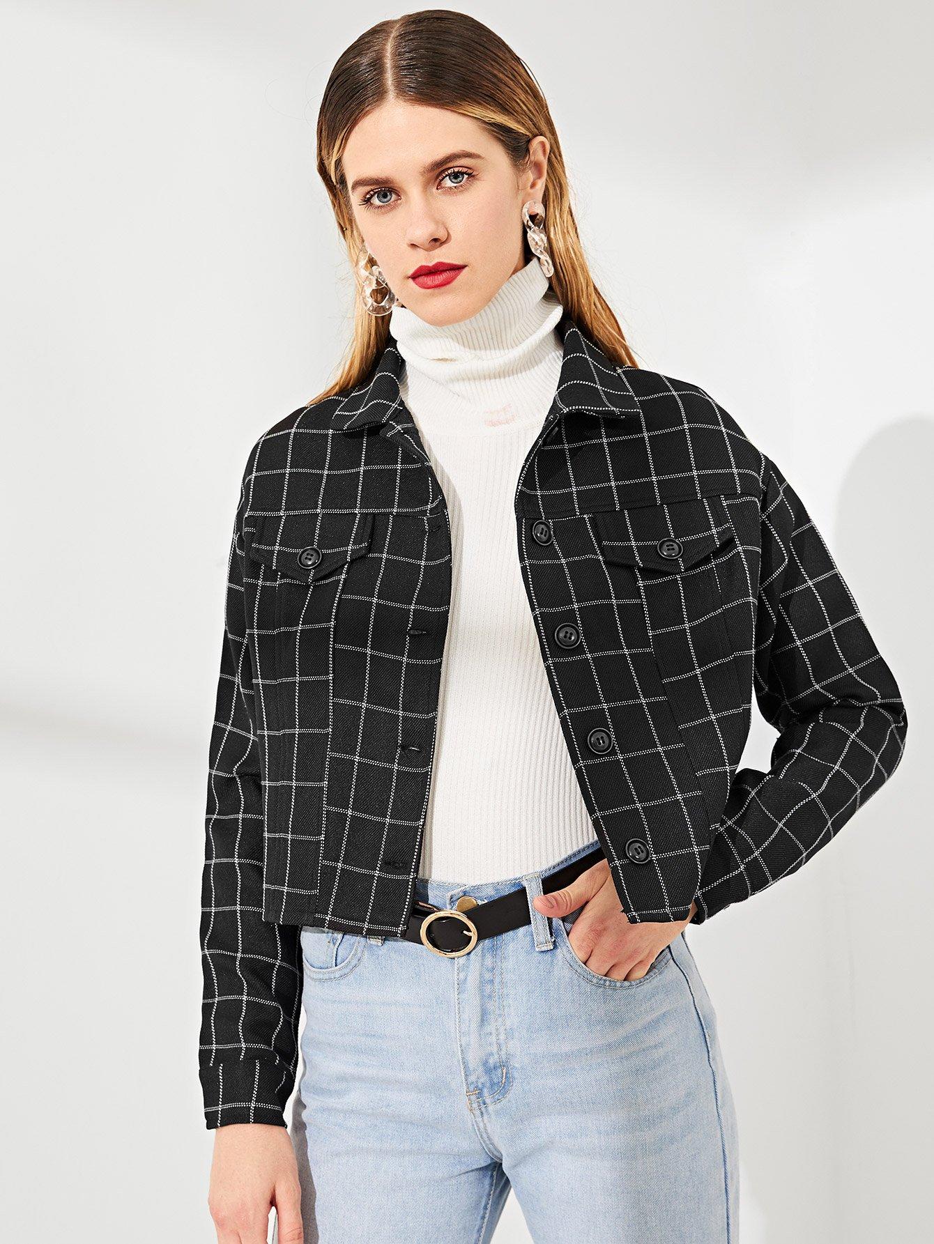 Купить Пальто в клетку с украшением пуговицы и кармана, Victoriab, SheIn