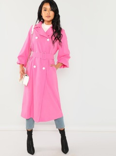 Neon Pink Lantern Sleeve Belted Trench Coat
