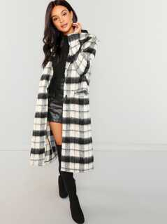 Button Up Fuzzy Plaid Coat